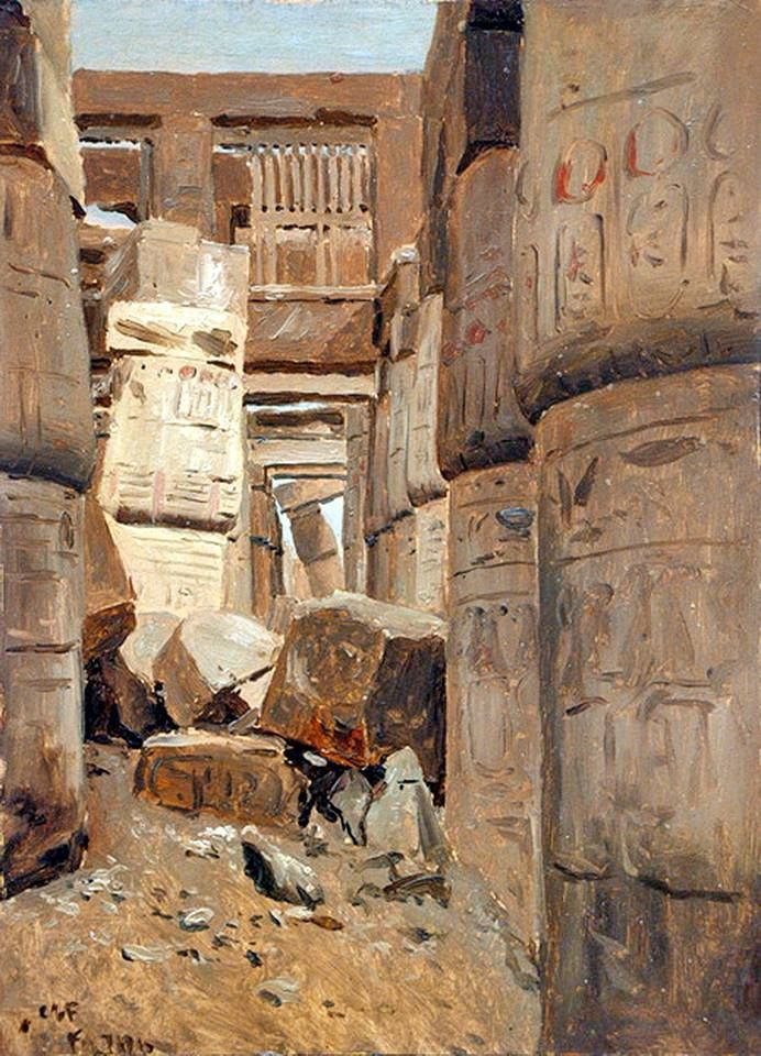 Hypostyle Alley, Karnak off the Nile By Lockwood de Forest (American,1850 –1932) Oil painting