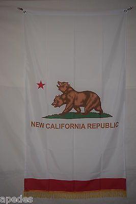 New California Republic Flag Banner Fringe 3x5