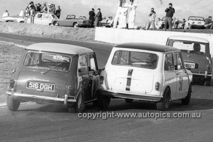 650476 - #34 David Bye & #50 Ron Granger, Morris Minis - Oran Park 1965 - Photographer Bruce Wells - AUTOPICS