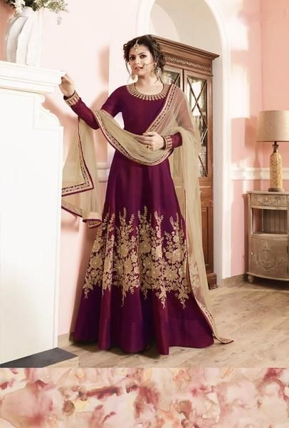 This suit is designed with elegant embroidery . TOP: Mulbary Silk BOTTOM: Santoon INNER: Santoon DUPATTA: Net COLOUR: Purple TYPE: Semi-Stitched SHIPPING