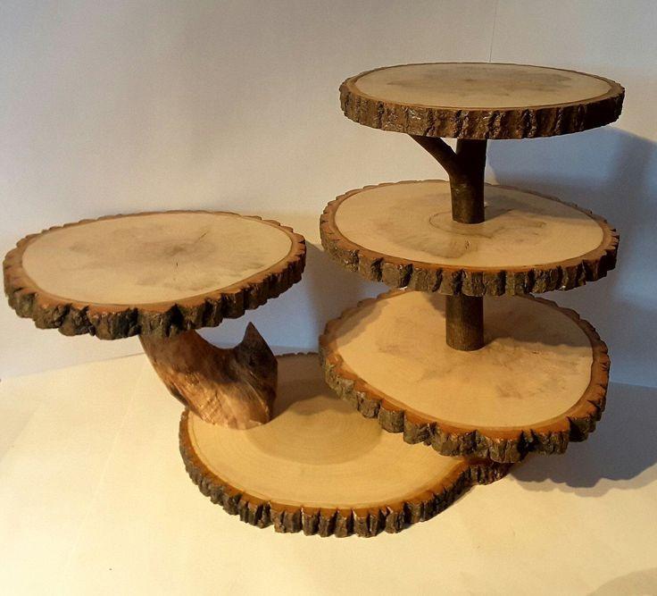 Large tree slice cupcake stand, rustic wedding dessert display stand, cake stand #countryweddingcakes