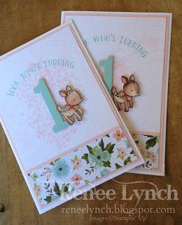 By Renee Lynch Baby turns One Number of years - Made with love - sheltering tree - water colour - baby card - first birthday - girl card - pink pirouette - Stampin' Up!