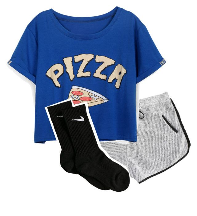 pizza night! by imma-ninjah on Polyvore featuring polyvore, fashion, style and NIKE