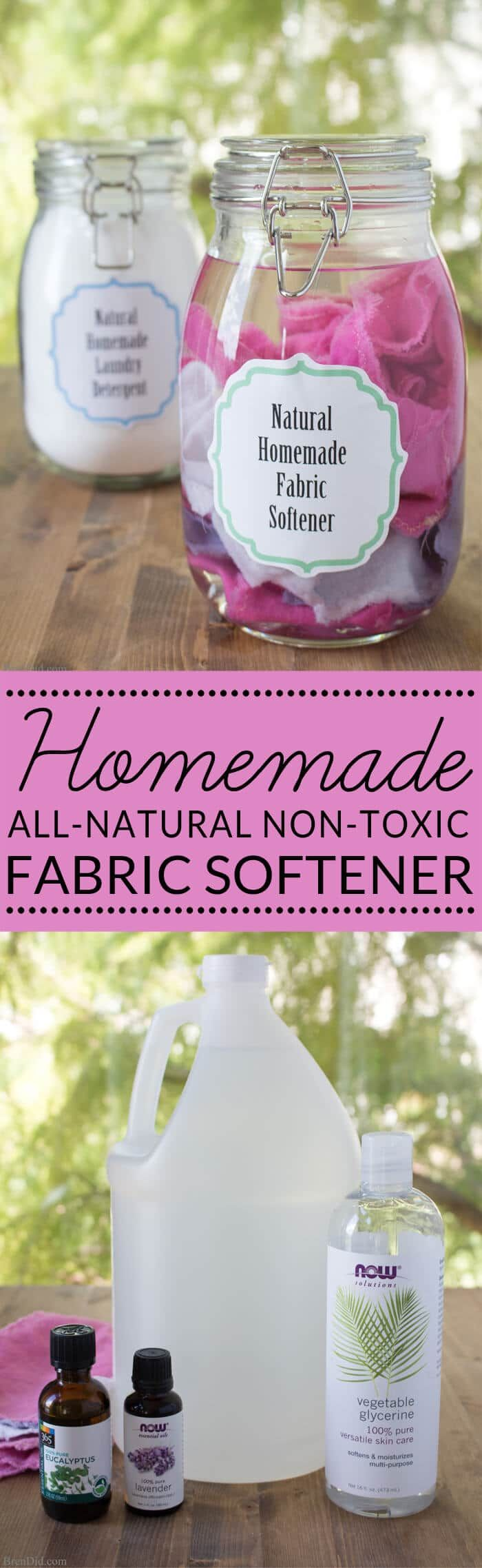 homemade fabric softener   all natural fabric softener   green cleaning and laundry   non-toxic fabric softener - Learn how to make homemade fabric softener dryer sheets.  via @brendidblog