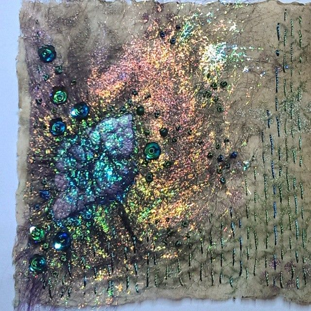Tyvek, Angelina fibres, beading and stitching.
