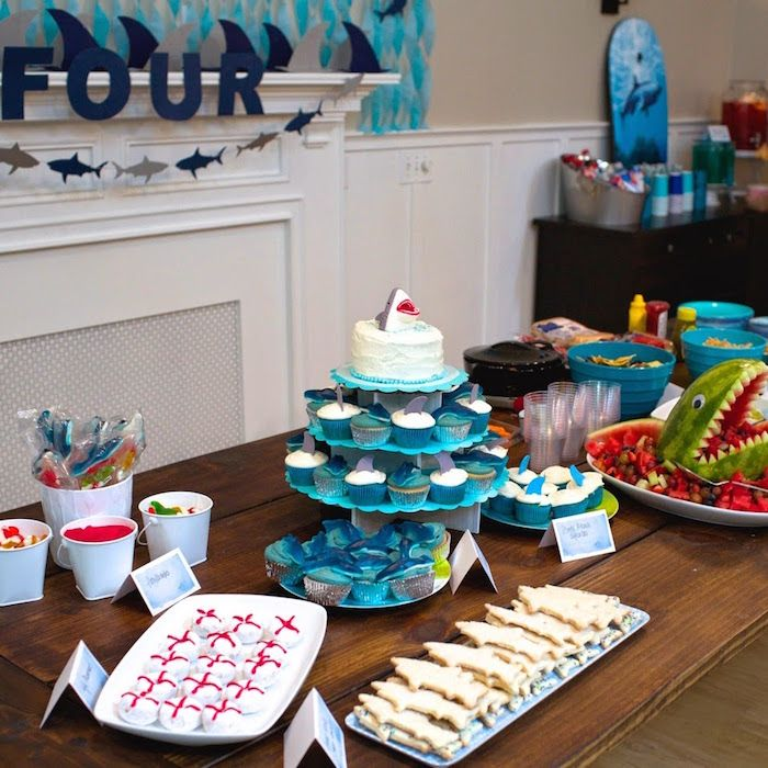 JAWsome Shark Themed Birthday Party via Kara's Party Ideas KarasPartyIdeas Party supplies, cake, decor, printables, cupcakes, and more! #sharkparty #sharkcake #partyplanning #boypartyideas #sharkbirthdayparty (18)