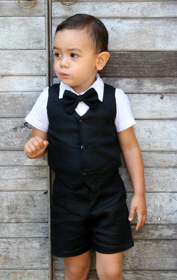 0eccb6ffe Christening Outfit - Black,Boy Suspender Shorts,Linen Shorts,Page Boy,Ringbearer,Baptism  boy,suspender Shorts,Boy Wedding Outfit,boy suit