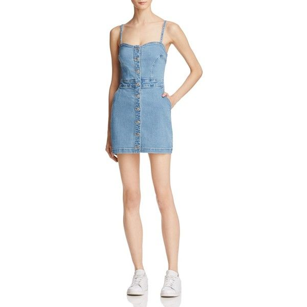 Guess Stephanie Body-Con Denim Dress ($108) ❤ liked on Polyvore featuring dresses, light wash, denim bodycon dress, guess dresses, body conscious dress, body con dresses and bodycon dress