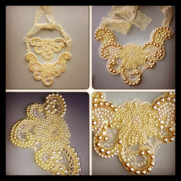 Hand embroidered pearl bracelet/necklace set by me! Jo George Designs