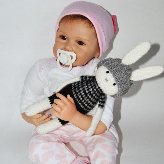 Knit Stuffed Animal bunny rabbit crochet toy  by SimonsCatShop