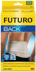 Futuro Stabilizing Back Support, Large/Extra-Large by Futuro. $28.99. Adjustable for customized fit and support. Patented design with support cushion pads helps target sore, aching muscles without placing pressure directly on the spine. Breathable, latex-free materials for all-day comfort. Your schedule is full and you're up to the challenge. The futuro stabilizing back support helps support your lumbar region in comfort. So you have the support you need to enjoy ...