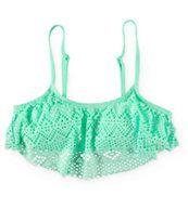 Since By Malibu Summer Crochet Flounce Bikini Top