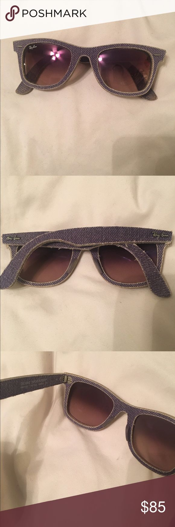 New denim reflective lens wayfarer ray bans Authentic ray ban wayfarers in denim with purple reflective lenses. 100% authentic. New without tags. Makes a great statement piece and so unique! Ray-Ban Accessories Sunglasses