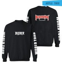 Wish | High-quality Autumn and Winter Women and Men Coat Justin Bieber Purpose Tour Hip Hop Trend Style Hoodies Sweatshirts Pullovers Black White Tops,4 Colors XS-XXXXL
