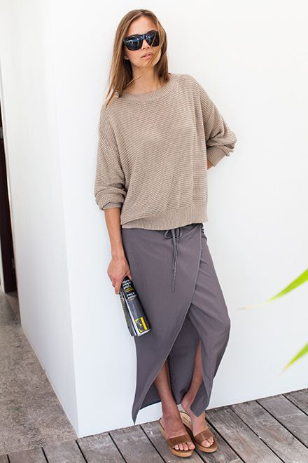 Emerson Fry s/s 2014 Carolyn Sweater - Cork Drawstring Sarong - Ocean Grey Italian Slapper - Caramello