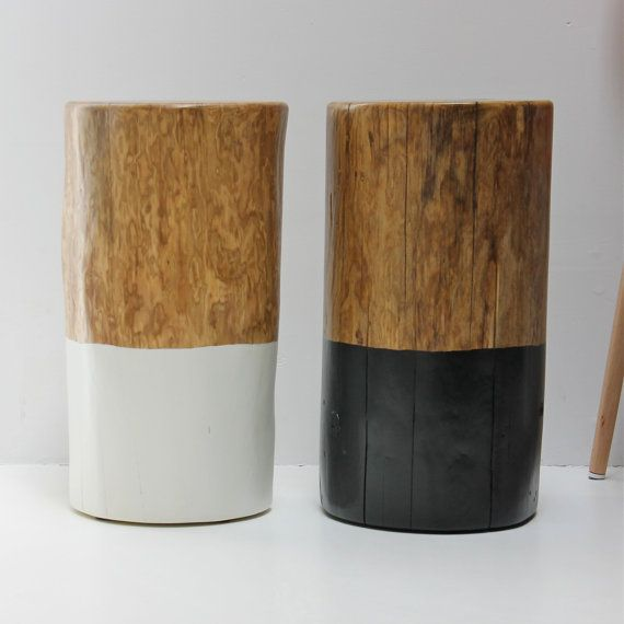 Double Dipped furniture anyone? We love the clean contemporary lines of this tree trunk table stool seat. This dyed and dipped stump side