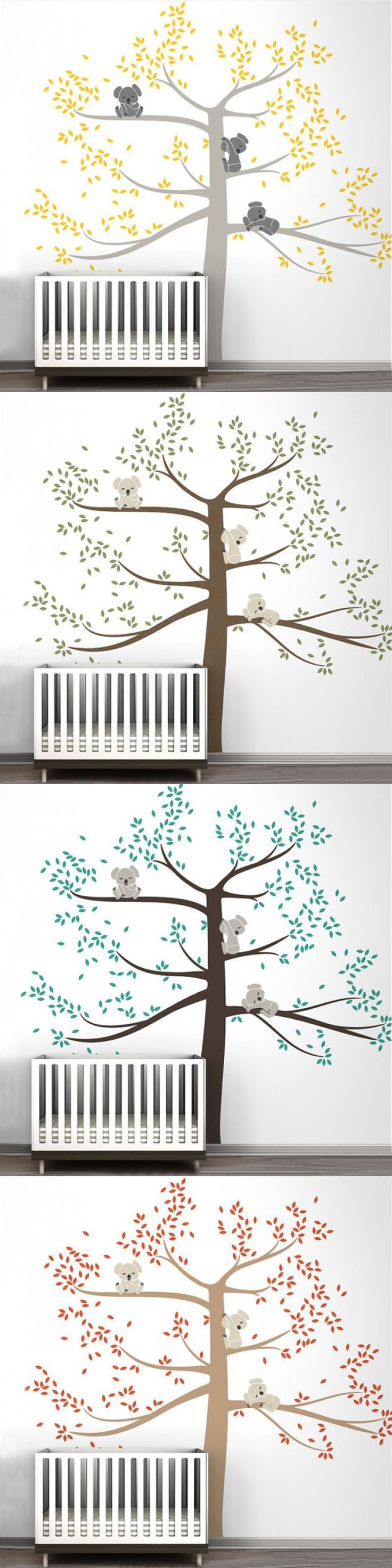 New Spring Koala Tree Vinyl Wall Decal Removable Wall Sticker Tree Nursery Vinyls Baby Room Decor Wall Stickers Home Decoration $49.98