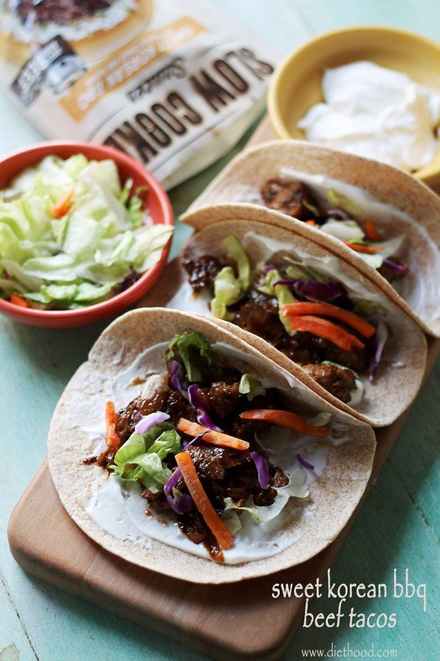 Sweet Korean BBQ Beef Tacos: A delicious Taco Dinner made with a sweet and spicy beef mixture that is slow cooked in Campbell's Sweet Korean BBQ Slow Cooker Sauce.