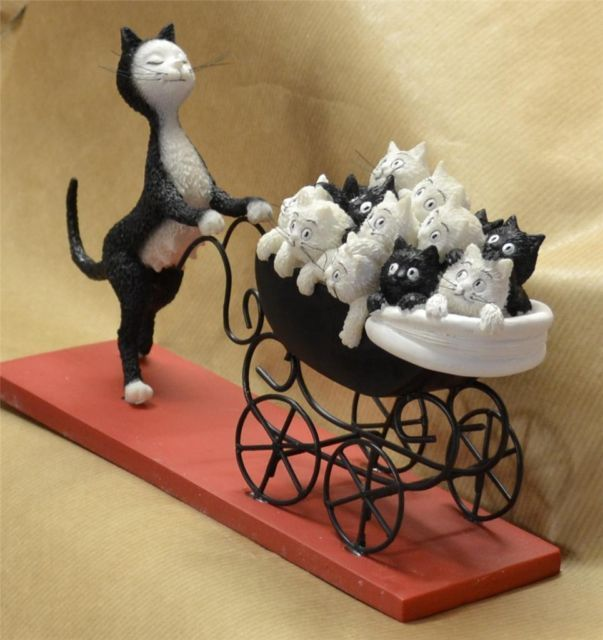 Dubout Mother Queen Cat Pushing Kittens in A Pram Figure Cats Kitten Feline Gift | eBay