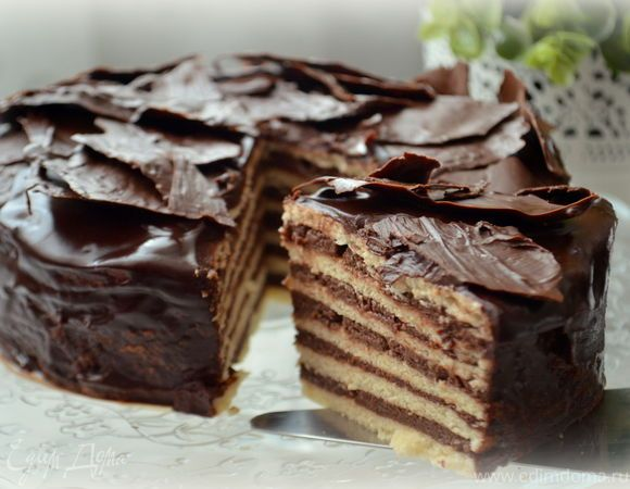 Песочный торт с шоколадным пудинговым кремом