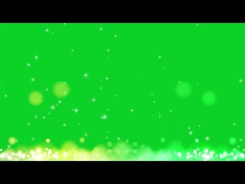 Beautiful blue and yellow particles frame green screen