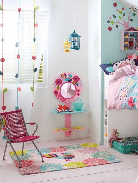 Chevet mural et miroir fleur fille th me ti paradis for Miroir pour chambre