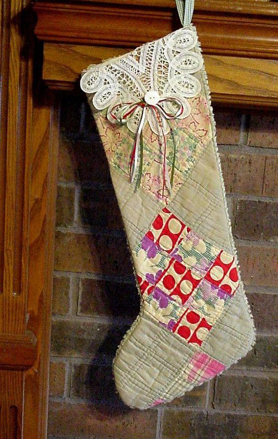 Quilted Christmas Stocking, Primitive Vintage Battenburg