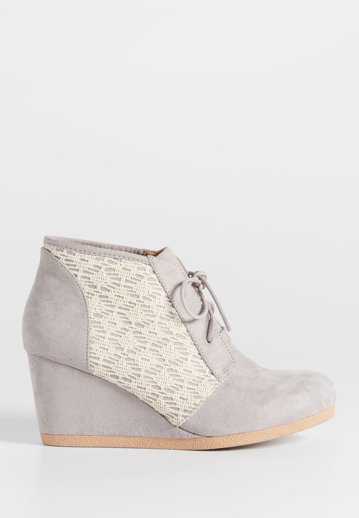 Carin faux suede wedge with lace side overlay (original price, $39.00) available at #Maurices