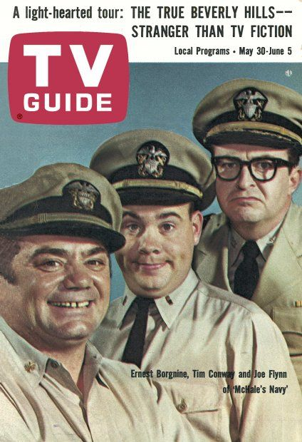 """TV Guide, May 30, 1964 - Ernest Borgnine, Tim Conway and Joe Flynn of """"McHale's Navy"""""""