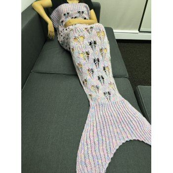 Comfortable Hollow Out Heart Shape Knitting Mermaid Tail Design Blanket