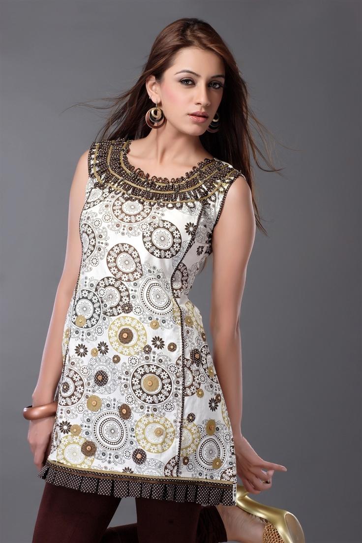 Boho tunic top blouses and dress 4009 trendy boho vintage gypsy - Off White Cotton Printed Kurti
