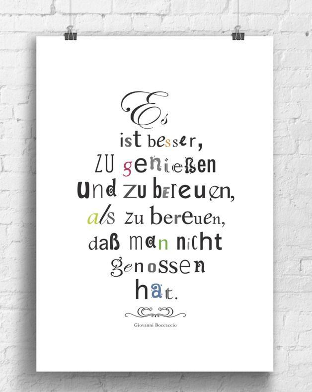 Poster mit Spruch über das Leben / art print with quote about life made by  bunte bilder shop via DaWanda.com