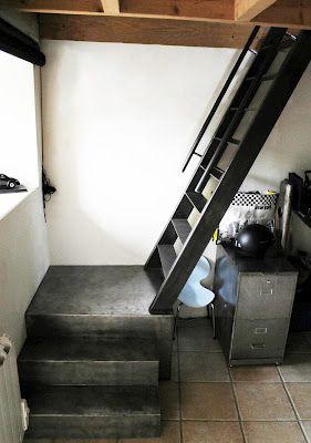 Idée configuration escalier pour accès aux mezzanine.