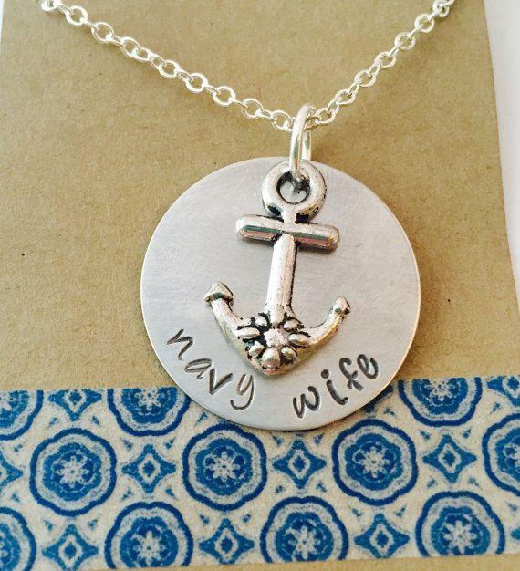 Navy Wife Aluminum Hand Stamped Necklace, Navy Necklace, Personalized Navy Necklace
