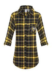 Pitt Penguins Womens Red Flannel Sleep Shirt
