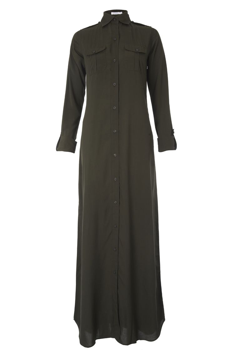 MILITARY GREEN LONG SHIRT - A structered long shirt style Abaya, precision detail yet simply put together for sophisticated style.