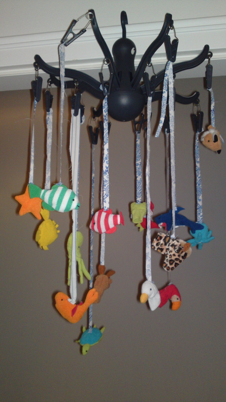 Easy baby mobile made with finger puppets and an Ikea octopus 'thing'
