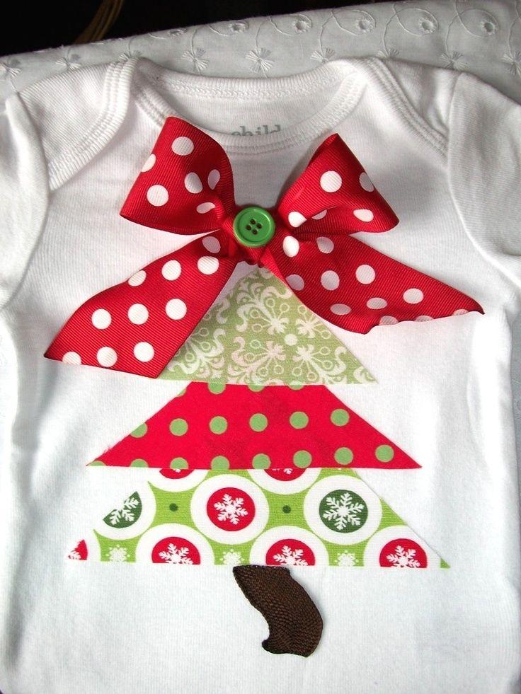 Long Sleeve Funky Christmas Tree Onesie--Appliqued- ... | Sewing Ideas