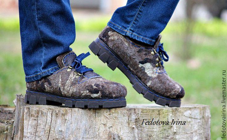 """Купить Туфли валяные """"Камуфляж"""". - комбинированный, камуфляж, ботинки, туфли ручной работы, ботинки валяные"""