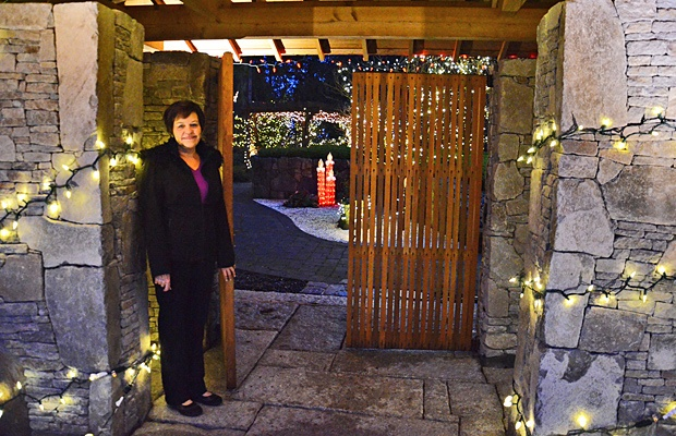 Evelyn Faulkner has decorated her Japanese-inspired garden for the holidays and is welcoming in the public as a fundraiser for Ronald McDonald House.
