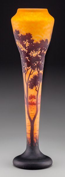Art Glass:Daum, Large Daum Overlay and Mottled Glass Landscape Vase. Circa 1900.Engraved Daum, Nancy, (Cross of Lorraine). Ht. 23-3/4 i...