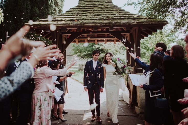 Bride and Groom from a Traditional English Country Wedding. Image by Kitty Wheeler Shaw