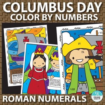 Students can practice or review Roman Numerals with these Columbus Day themed color by number worksheets. Students will match the Roman Numerals with  numbers indicated on the worksheets and use specified colors in the key to color the pictures. Also includes classic version of color by number, no math involved.You might also be interested in Columbus Day Color By Number Place Value workskeets, also featuring these same images.