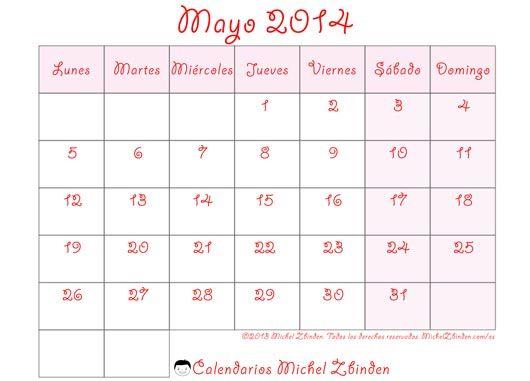 calendario mayo 2014 para imprimir gratuito imprimible horario agenda planificación convocatoria mensual mes semana lunes incoloro económico sobrio blanco y negro