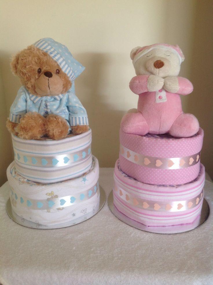 Twin nappy cake set  Www.facebook.com/amandascreativecreations