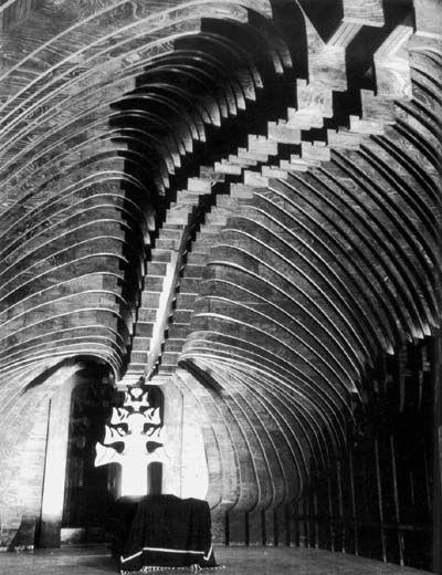 Farkasrét Mortuary Chapel (1975) by architect Imre Makovecz via Research into Organic Design.