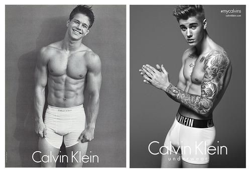 Justin Bieber poses for Calvin Klein—but he's no Marky Mark