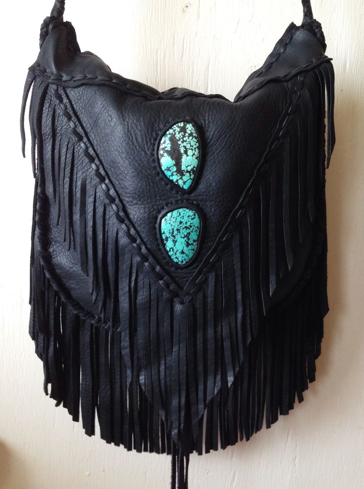 Custom deerskin bag with inset turquoise by Three Arrows Leather