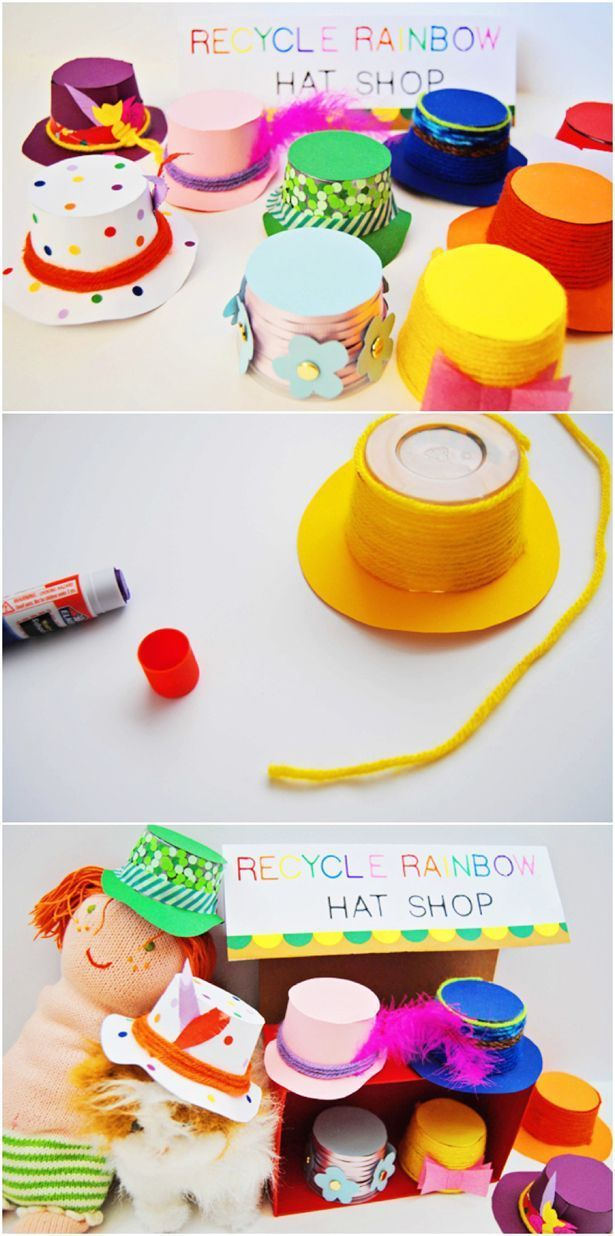 Recycled Yogurt Hat Shop for Pretend Play. Turn empty yogurt cups into colorful hats. What a cute recycled craft for kids!