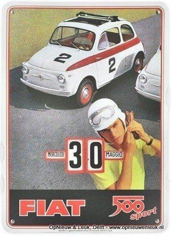 Eeuwigdurende kalender met afbeelding Fiat 500, op karton